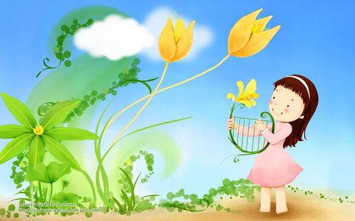 Cartoon Sweet Little Girl Illustration