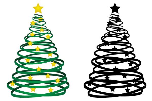 Christmas Tree Ribbon Vector Free