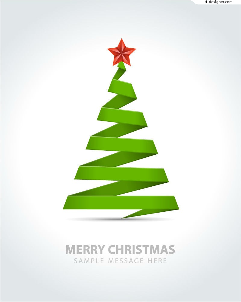 Christmas Tree Ribbon Vector