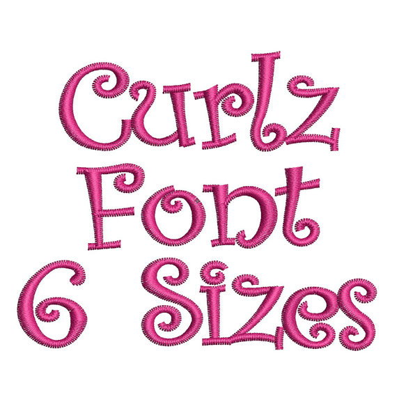 Curlz Font Embroidery Design