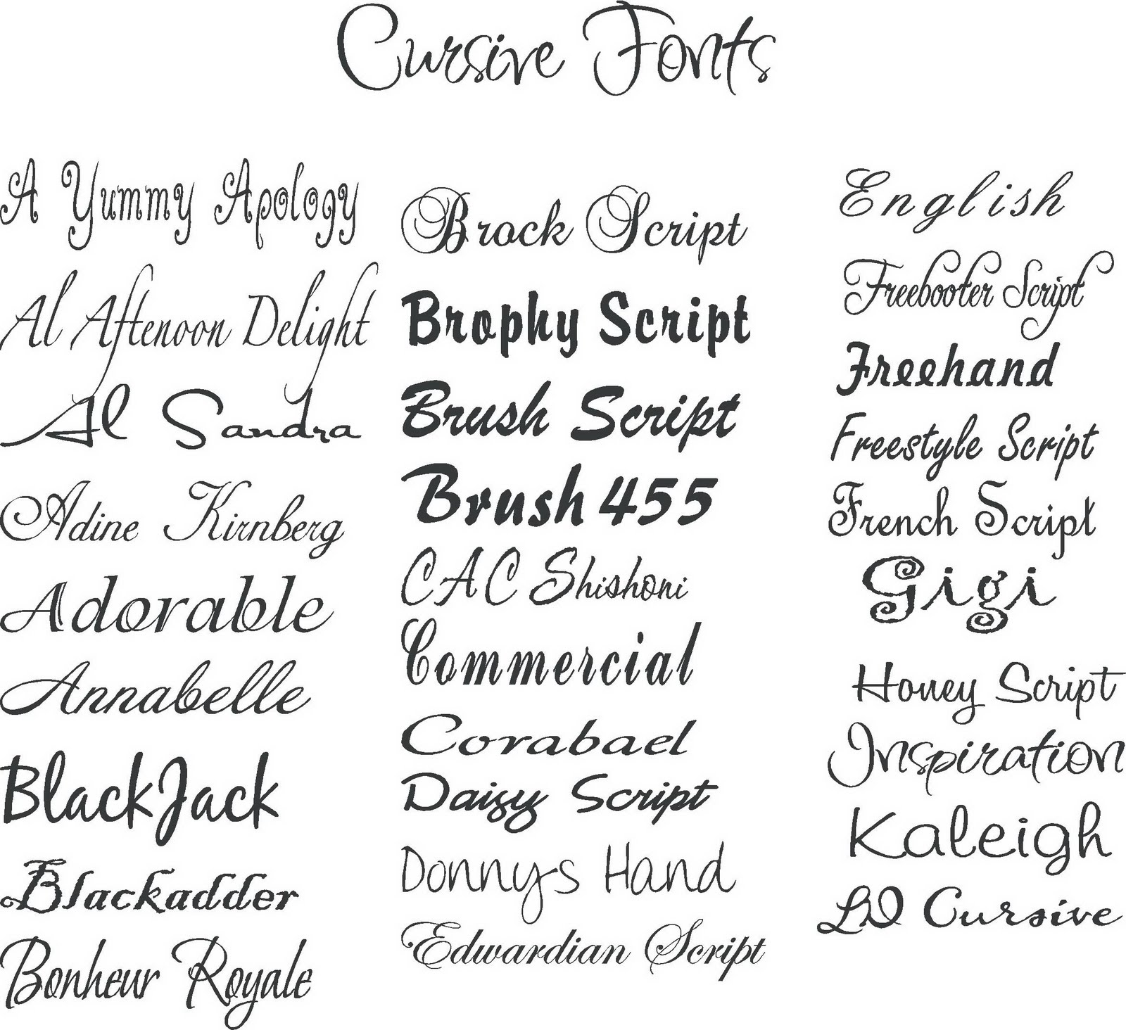 Cursive Tattoo Fonts Name