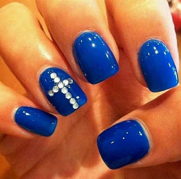 Dark Blue Nails with Designs