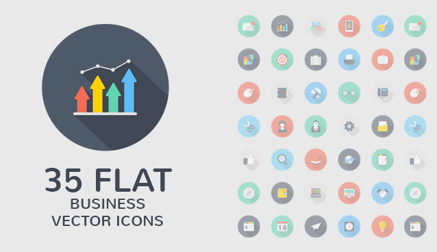 7 Flat Style Icons PSD Images
