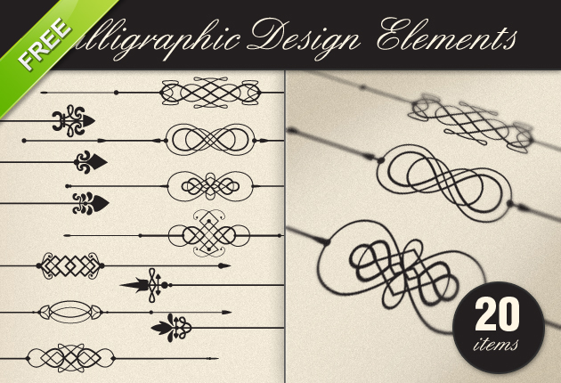 9 Gold Calligraphic Design Elements Free Images