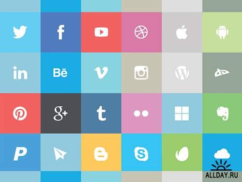 Free Flat Social Media Icons PSD