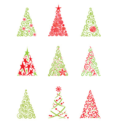 12 Contemporary Christmas Tree Vector Art Images