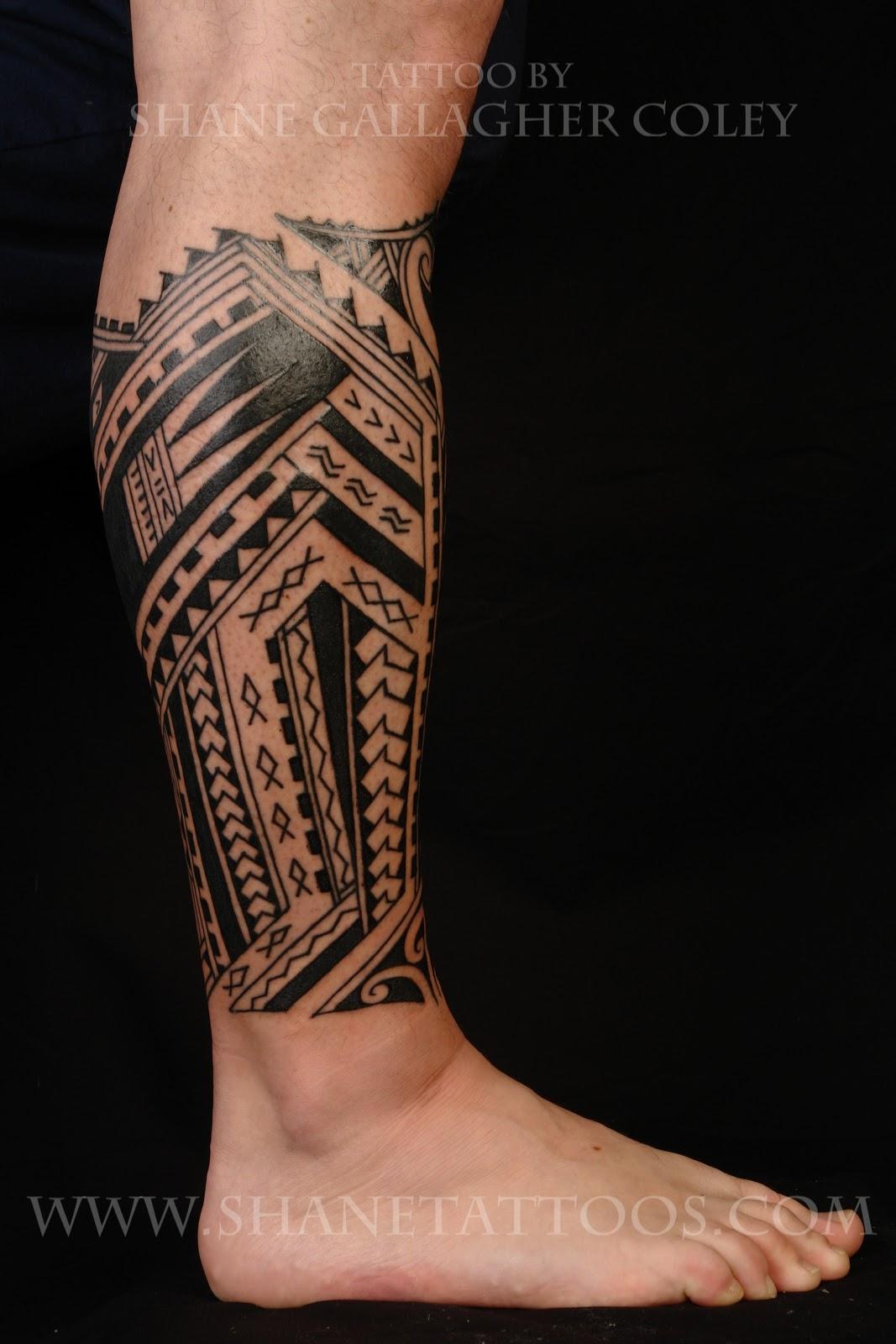 Polynesian Tribal Leg Tattoo