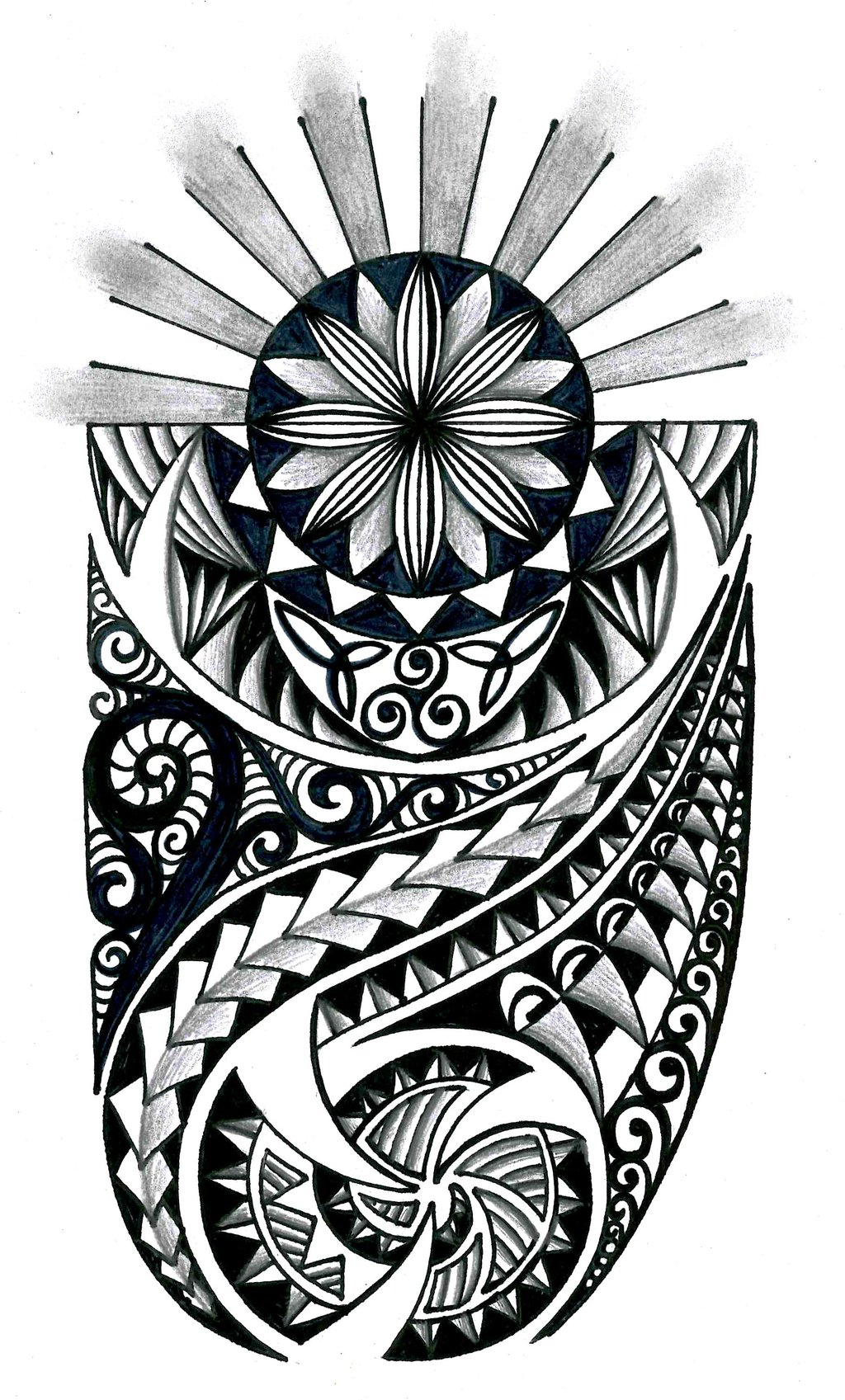 Polynesian Tribal Tattoo Drawing Designs