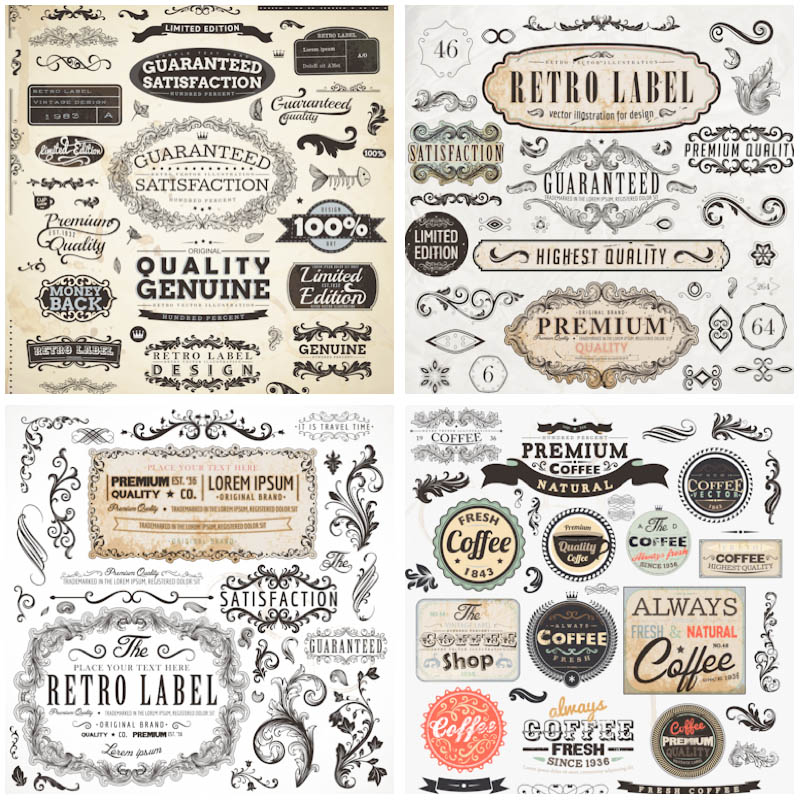 Retro Design Elements Free Vectors