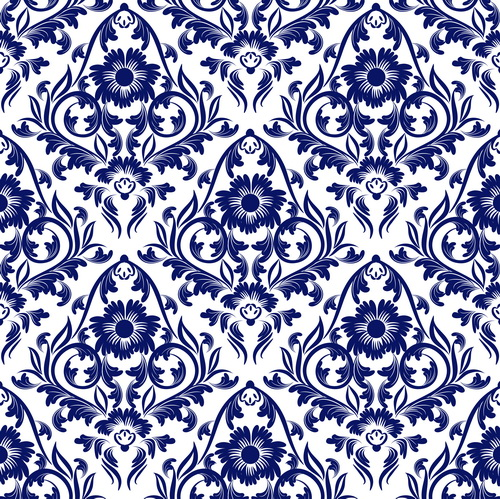 Seamless Pattern Vector Floral Ornaments