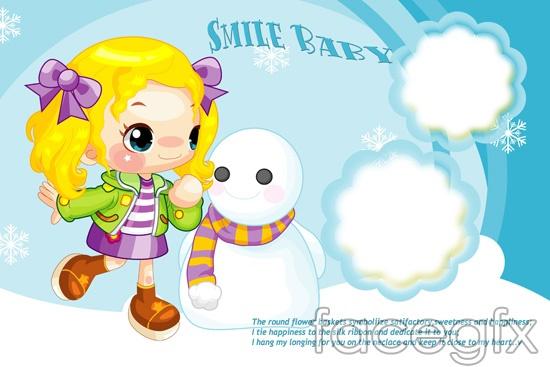 Snowman Cartoon Characters Girls