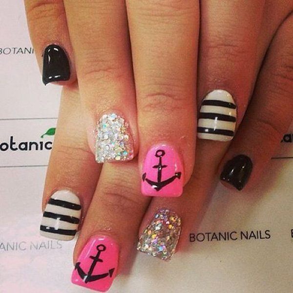 Summer Acrylic Nail Designs with Anchor