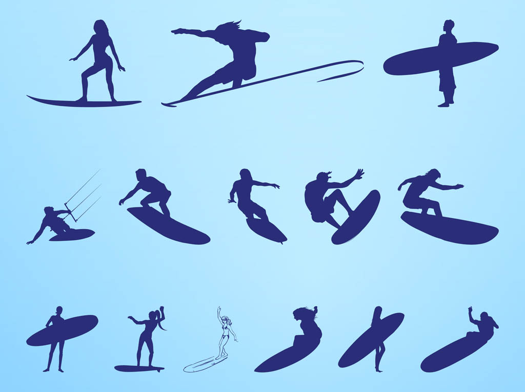 12 Surfer Girl Vector Images