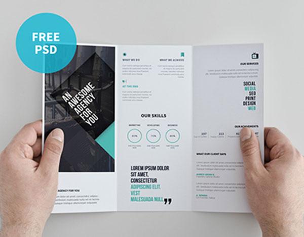 14 Tabloid Horizontal Brochure Mockups PSD Images