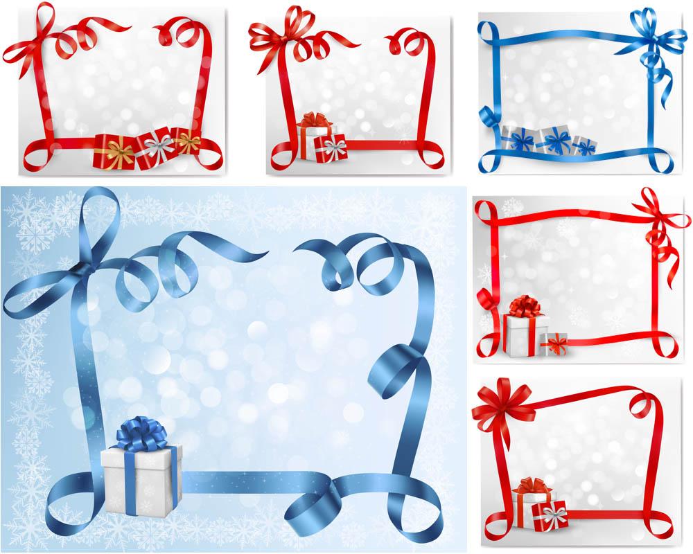 Vector Christmas Ribbon Frames