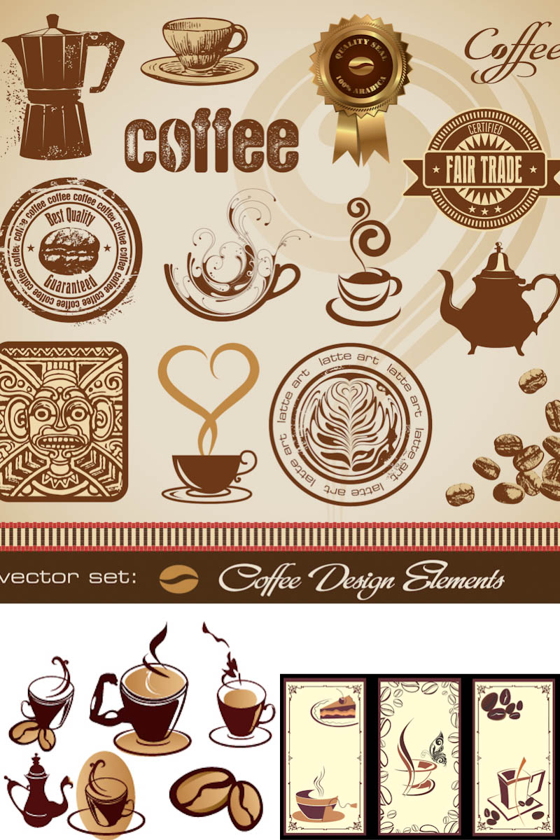 Vector Vintage Labels Coffee