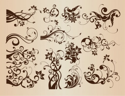 Vintage Floral Vector Design Elements