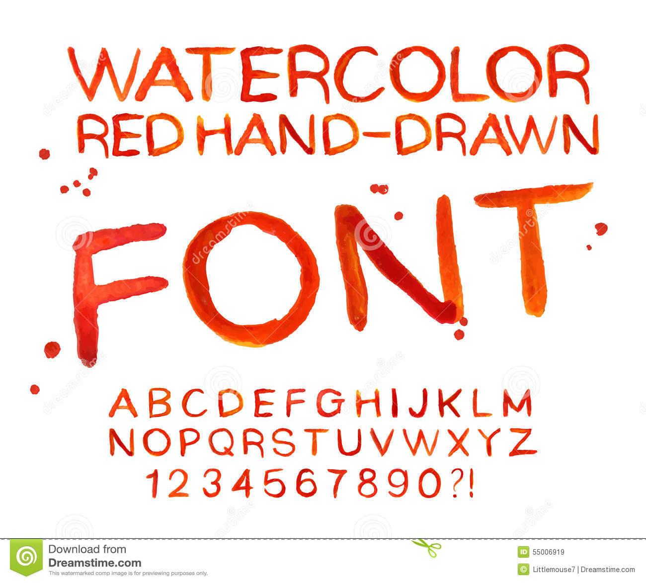 Watercolor Font Alphabet