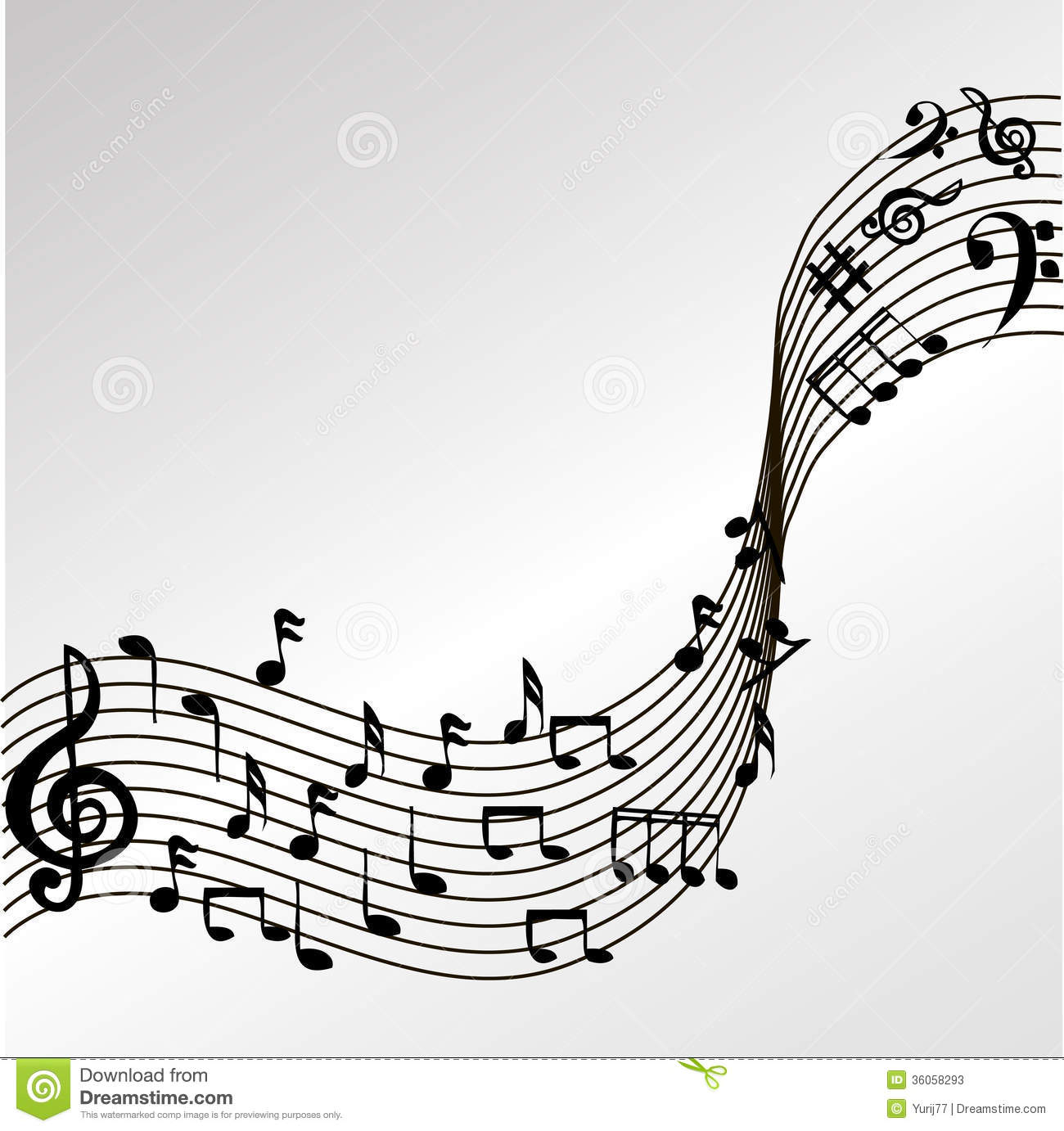 Wavy Music Notes Vector