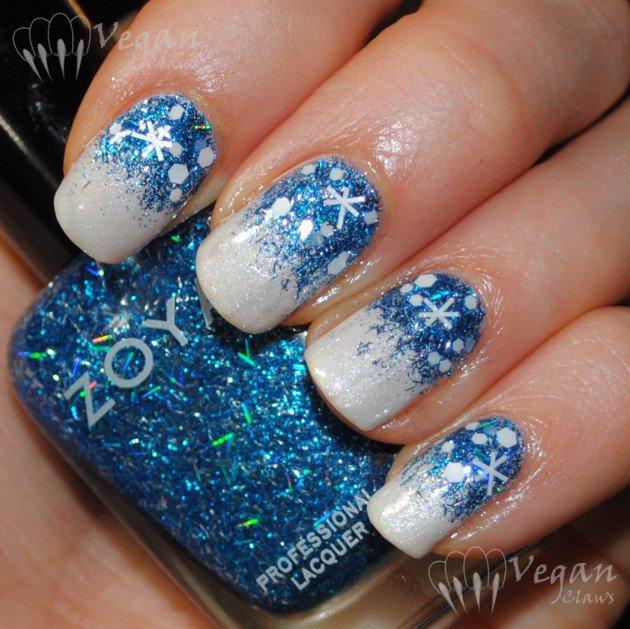 11 Blue Christmas Nail Art Designs Images