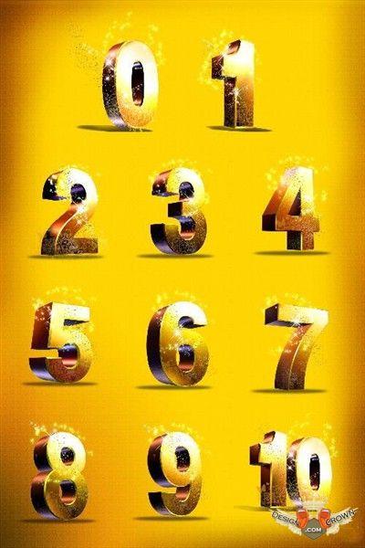 3D Numbers Clip Art