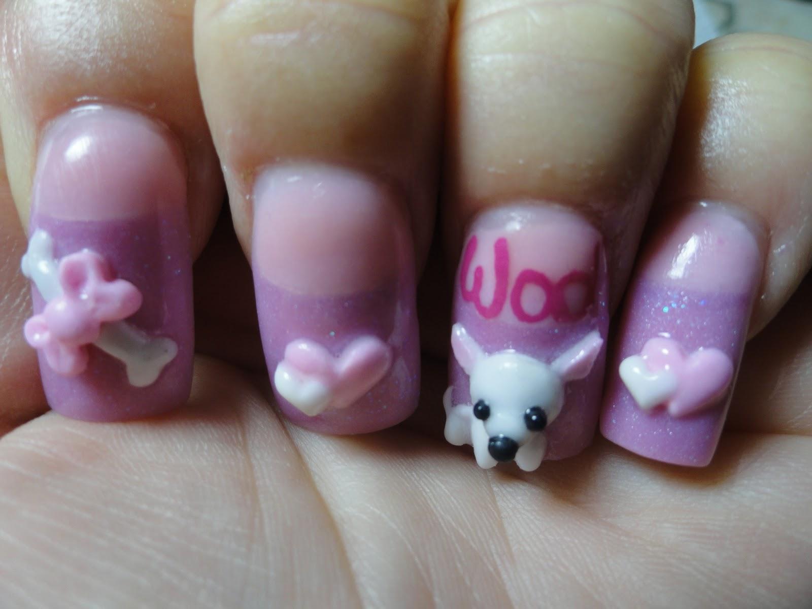3D Puppy Nail Art