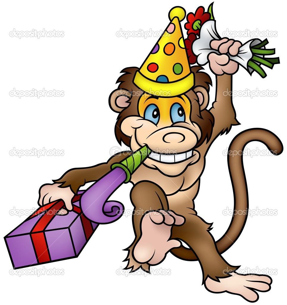 Birthday Cartoon Monkey Clip Art