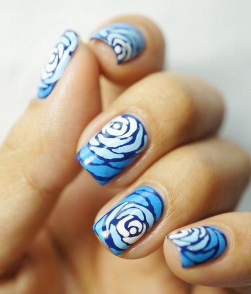 Blue Rose Flower Nail Designs