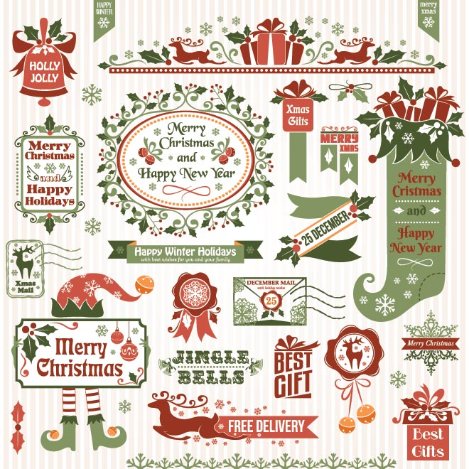 18 Free Vectors Christmas Vintage Images