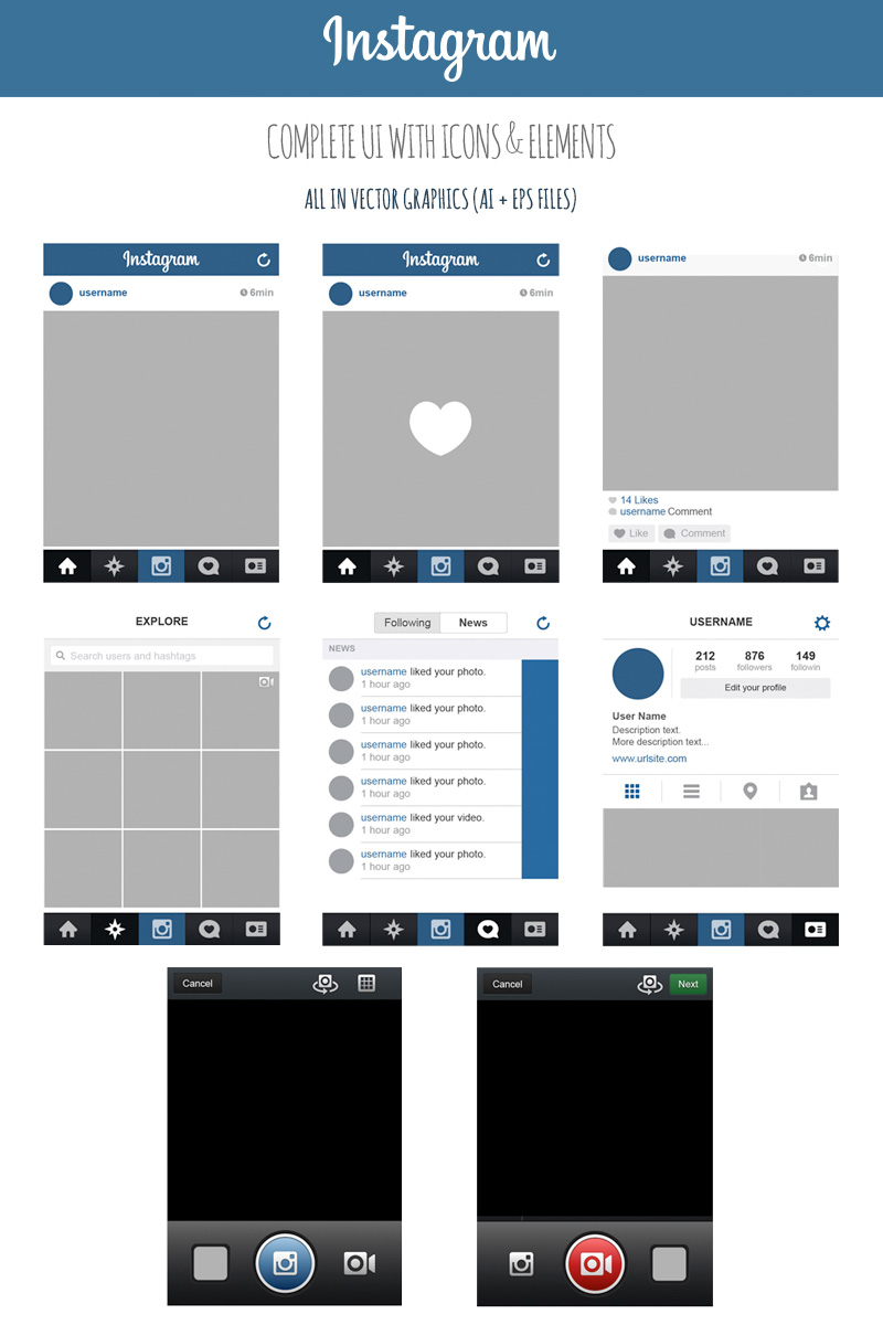 19 Instagram PSD Layout Images