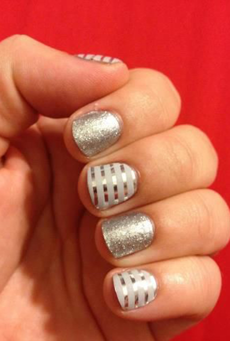 Jamberry Nails Silver & Stripes