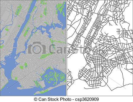 New York City Map Free Vector Art