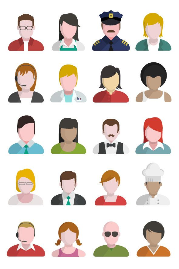 19 Flat People Icon Images