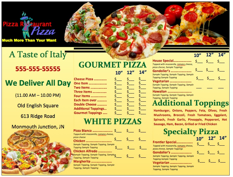 11 Pizza Menu Design Images - Best Pizza Menu Design, Pizza ...