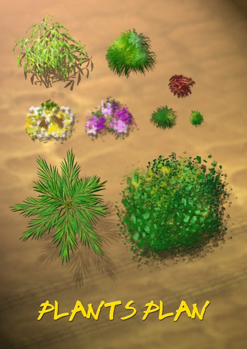 13 Plants In Plan PSD Free Download Images - Photoshop ...