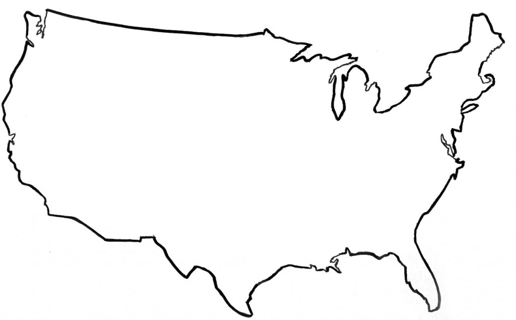 Outline Map USA With State Borders numbered EnchantedLearningcom