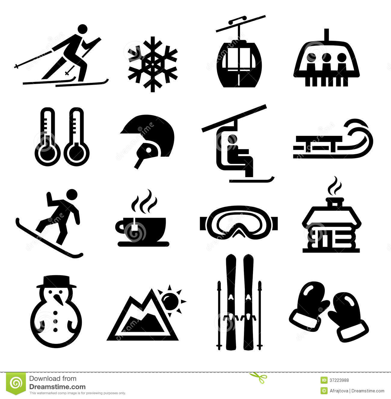 Winter Activities Clip Art Icon