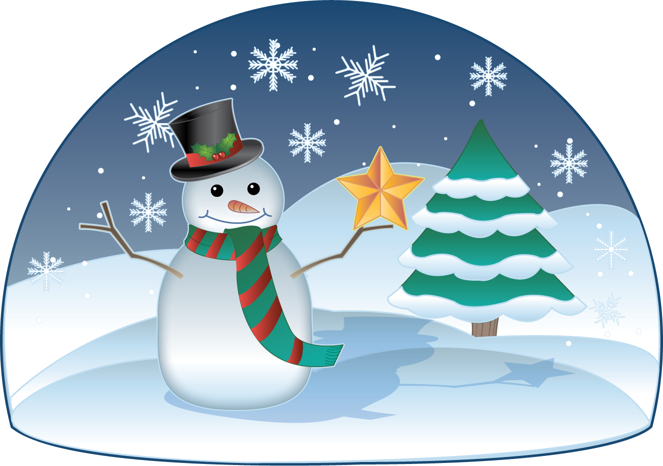 Winter Holiday Scene Clip Art Free