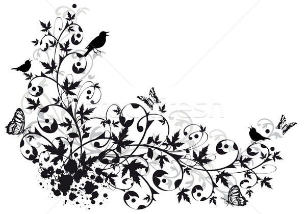 Abstract Graphic Flower Border