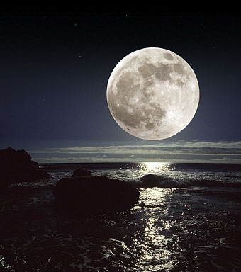14 PSD Full Moon Over Ocean Images