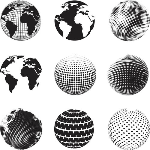 Black and White Globe Icon Vector