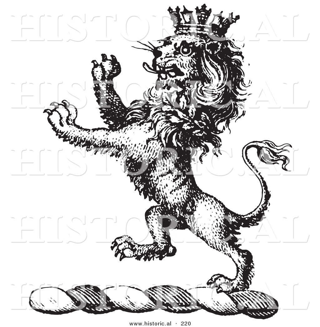 Black And White Lion With Crown