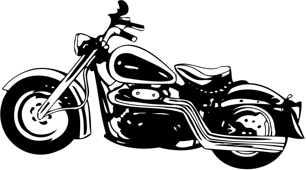 Black and White Motorcycle Clip Art Free