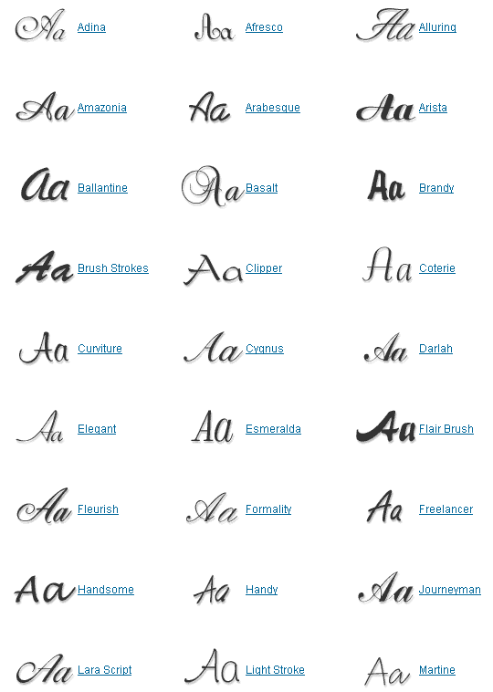 Calligraphy Handwriting Fonts