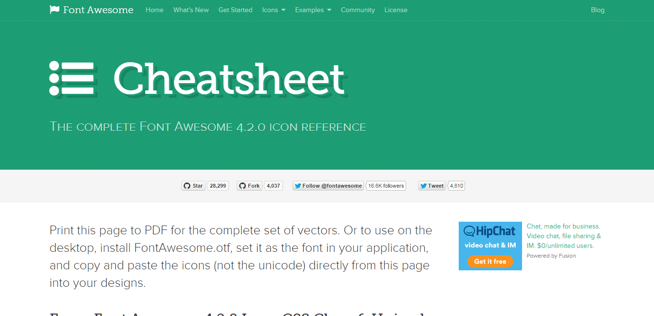 Cheat Sheet Font Awesome Icons