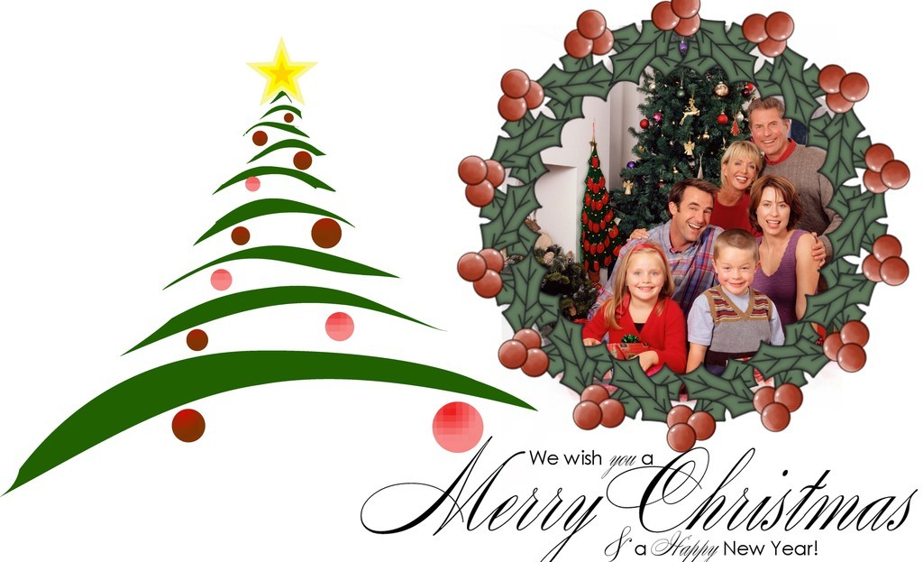 Christmas Card Photoshop Template PSD