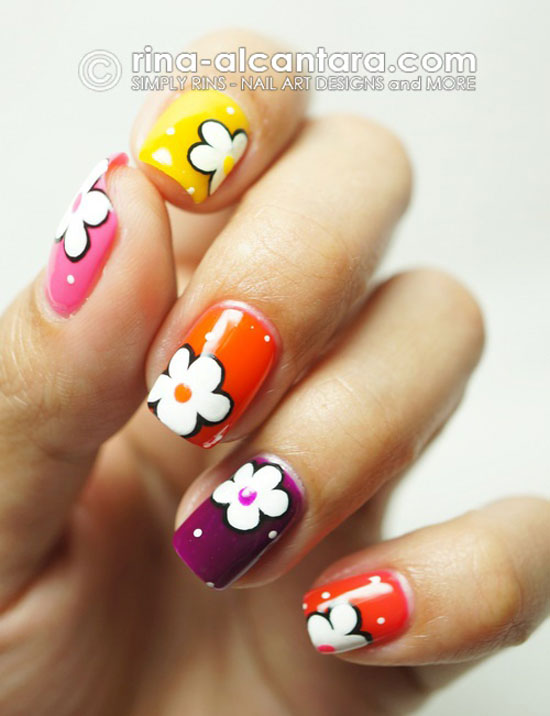 15 Simple Flower Nail Designs Images , Simple Flower Nail