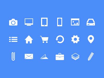 13 White Flat Icons Images