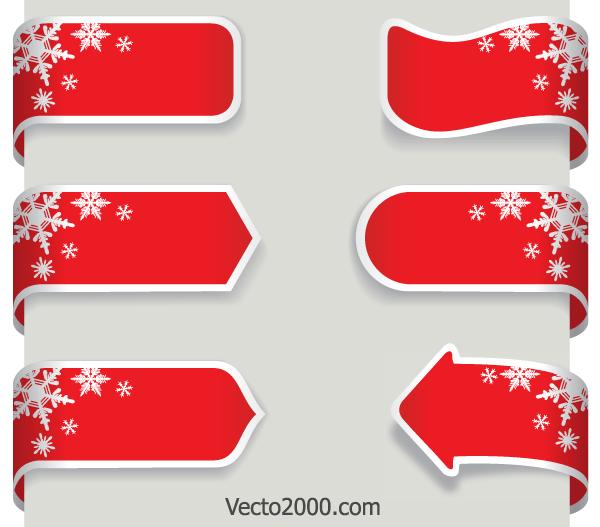 Free Christmas Vector Banner Ribbons