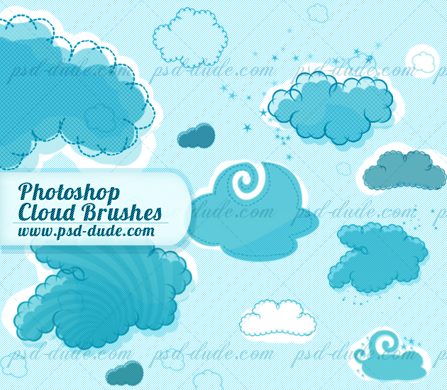 14 Cloud Brushes PSD Images